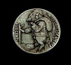 """Hobo Nickel """"Bob The 3 Legged Hobo Buffalo"""" 2 Sided Carving by Howard Thomas   eBay"""