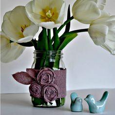 Mason Jar Vase - With Fabric Flowers