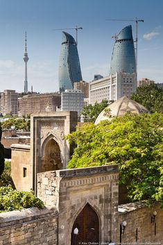 Flame Towers and Old City of Baku, Azerbaijan http://www.travelbrochures.org/218/asia/travel-azerbaijan