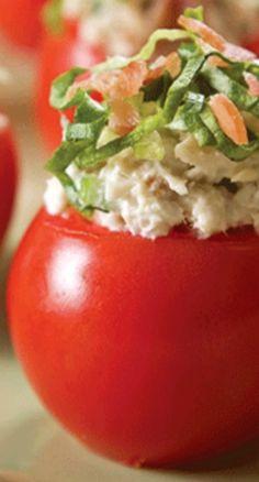 BLT Chicken Salad Stuffed Tomatoes