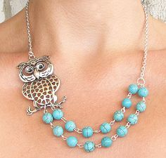 Owl Necklace Owl Jewelry Silver Necklace Turquoise by zafirenia owl jewelri, owl necklac, owl jewelry, necklace turquoise, necklac turquois, owls necklace, owls jewelry, necklac owl, silver necklac