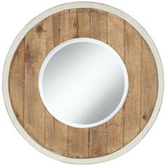"""Distressed White and Natural Wood 30"""" Round Wall Mirror"""