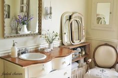 I Love this Charming Shabby French Bathroom! See More at thefrenchinspiredroom.com
