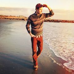 //\\ style inspir, beauti sweater, color, sunsets, greatest style, style icon, sunset count, red jean, hat