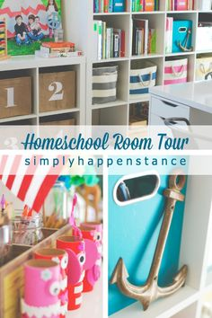 What a fun Homeschool Room Tour! Plenty of ideas for organizing kids spaces and supplies plus lots of eye candy.