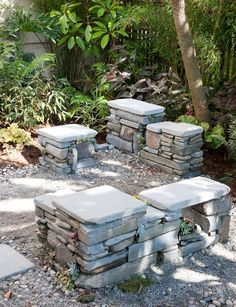 Stacked stone seating