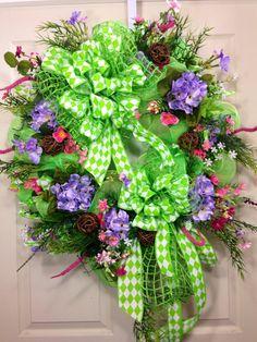 Lime Chevron Wreath on Etsy, $115.00