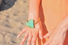 Chrysoprase and Gold Chain Bracelet by GoldenPlumeJewelry on Etsy