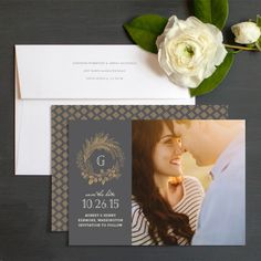 Golden Wreath Save The Date Cards By Emily Crawford | Elli