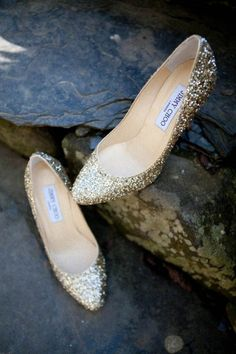 Gold sparkly Jimmy Choo wedding shoes