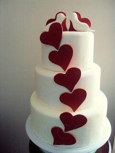 heart-themed cake.   I like the contrast.