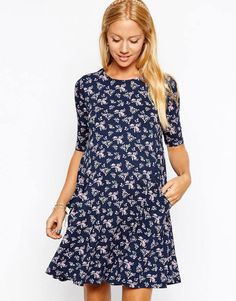 Navy Floral Maternity Dress from ASOS - so on-trend for fall! #maternity #style