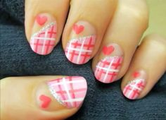 pink plaid + heart nail art
