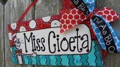 Teacher Name Sign Personalized Seuss on Etsy, $40.00