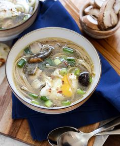 Chicken + Mushroom Noodle Soup with Poached Eggs