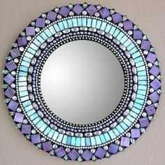 mosaic mirror tiles and rhinestones