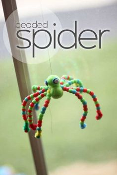 Fine motor with beads -- Halloween Beaded Spider Craft for Kids