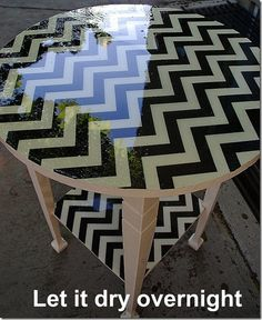 how to decorate furniture with fabric, using modge podge and resin