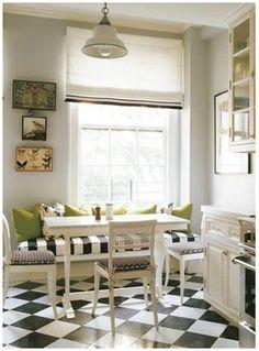 black and white tiled floors, breakfast nook