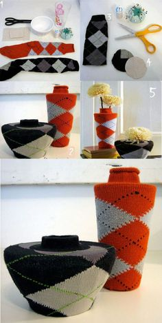 Decora y diviértete: Jarrones forrados con lana, tendrás un 2x1