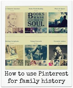 How to use Pinterest for family history. Now I can pin all those links for family history photos and information I found on the internet and keep them all in one place!