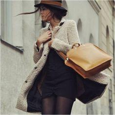 black dress, long coat