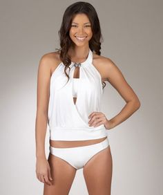 Luxe by Lisa Vogel Peekaboo Tankini Top and Swimsuit Bottom