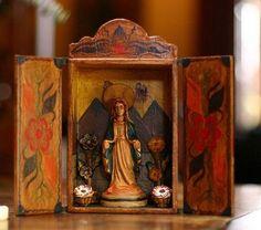 """Painted Wood Retablo, """"Virgin Mary"""" painted wood, shrine, folk art, religi art, mari art, virgin mary, paint wood, virgin mari, mari retablo"""