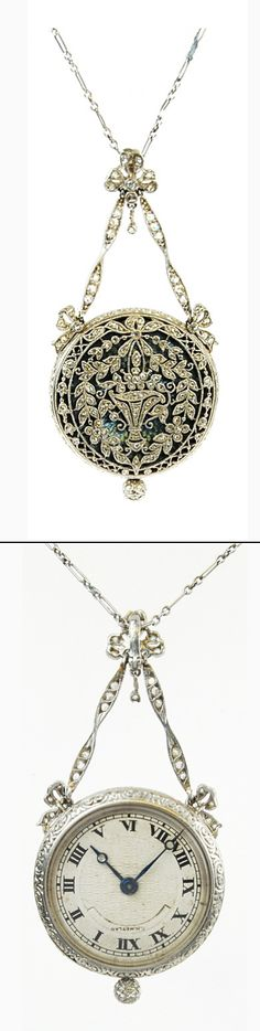 Platinum and diamond set enamel pendant watch on an 18k white gold chain by C.H.Meylan. Switzerland, c. 1900.