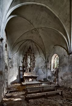interior, small gothic, arch, ruin, abandoned churches, vaulted ceilings, place, gothic chapel, old churches