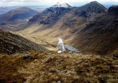 The Scots Highlands  I would like to see this, including the dog.  On top of Buachaille Etive Beag looking over to the Buachaille Etive Mor Ridge.