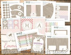 Vintage Horse or Pony Party Pack by three little monkeys studio on Etsy