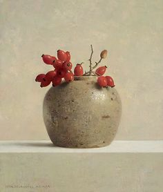 GINGER POT WITH ROSE HIPS--Henk Helmantel (1945- )