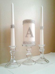 Unity Candle Set Silver Bling Monogram Wedding White Unity Candle Set Elegant Wedding Candle Set. $34.95, via Etsy.