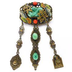 Vintage Art Deco Czech Neiger Chinese Dragon Peking Glass Enamel Cloud Drop Pin Brooch | Clarice Jewellery | Vintage Costume Jewellery