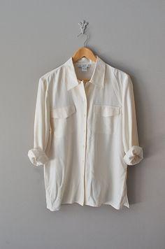 pale cream silk blouse | $36.00
