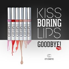 Kiss Boring Lips Goodbye with City Lips. City Cosmetics, lip plumper, lip gloss, clear gloss, los angelips, orchid, nude york, tinsel town, holly, sun diego, coral, glitter, shimmer gloss