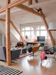 eclectic and modern with beams