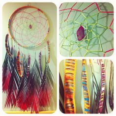 sold, but great for inspiration // ISLAND TIME palm frond dream catcher with neon web, pink agate and painted pods