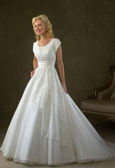 Maybe this is actually perfect.   Simple Wedding Dresses with Sleeves and V-Necked