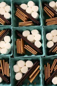 s'mores kit in a berry baskets -- great idea for a party or bbq! this is basically what we were talking about! but in bags instead :) @Robyn Jones