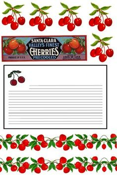 Cherry printables and recipe card