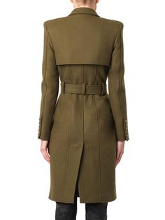 Balmain Double-breasted wool trench coat