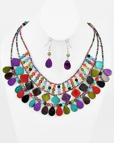 Bold and Beautiful Colorful Statement Necklace, $38.00 Find fun fabulous fashion jewellery and statement jewlry at Strike Envy. #jewellery #jewlry StrikeEnvy.com