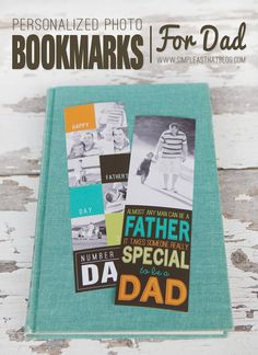 Simple, meaningful gift for Father's Day: Photo Bookmarks. #fathersday #dad #handmade #gift