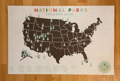 National Parks Checklist Map Print - 11x17 print. via Etsy.
