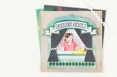 Family Album Cricut image set -- Puppet Show scrapbook page layout. Make It Now in Cricut Design Space