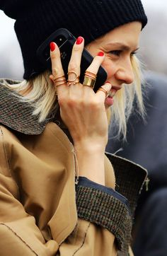 Red nails + gold rings.  LE FASHION BLOG STREET STYLE PARIS FASHION WEEK FW FALL WINTER 2013