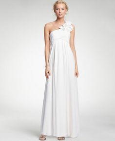 (NO.008249)2011 Style Empire One Shoulder Sleeveless Floor-length Chiffon Corsage Beach Wedding Dress For Brides
