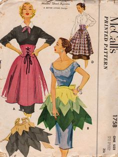McCall 1758 1950s Misses Corset and Petal Half Aprons womens vintage sewing pattern by mbchills